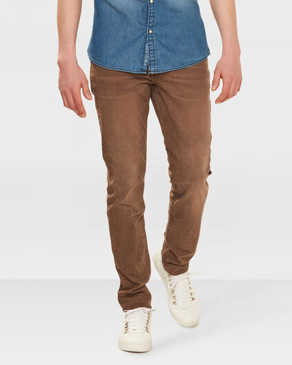 PANTALON SKINNY TAPERED STRETCH HOMME Brun clair