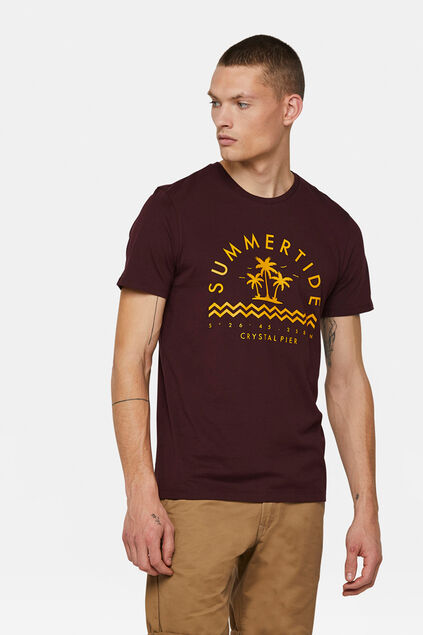 T-shirt summer tide print homme Bordeaux