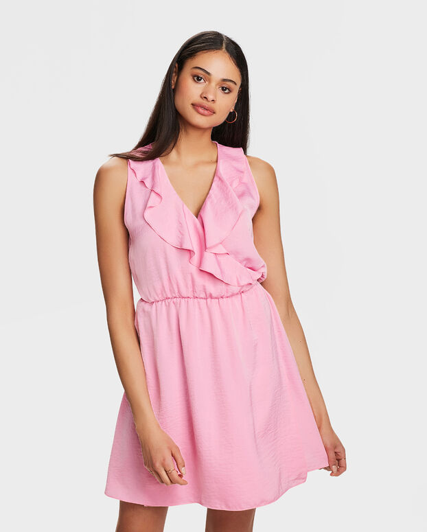 ROBE A REVERS RUFFLE FEMME Rose
