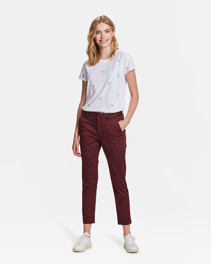 CHINO MOTIF GRAPHIQUE SLIM FIT CROPPED FEMME Aubergine