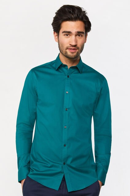 Chemise slim fit stretch homme Vert