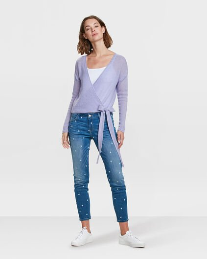 JEANS SKINNY FIT TRIANGLE PRINT CROPPED FEMME Bleu