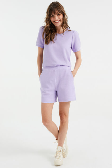 Short sweat à structure femme Lilas
