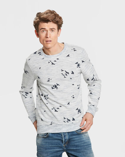 SWEAT-SHIRT MELANGE BIRD PRINT HOMME Blanc