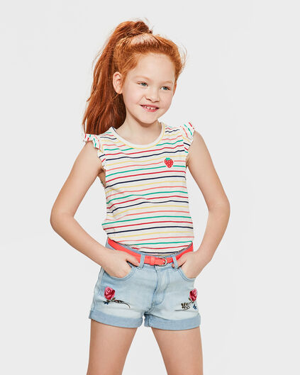 TOP STRIPED RUFFLE DÉTAILS FILLE Blanc