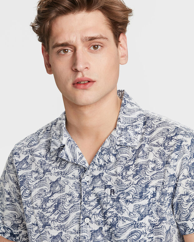 CHEMISE RELAXED FIT FISH PRINT HOMME Bleu