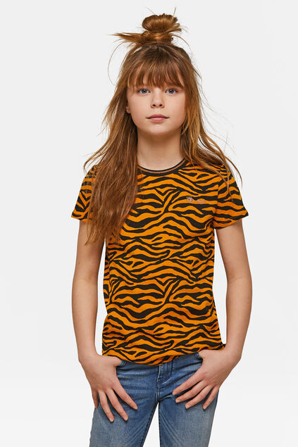 T-shirt à imprimé zèbre fille Orange