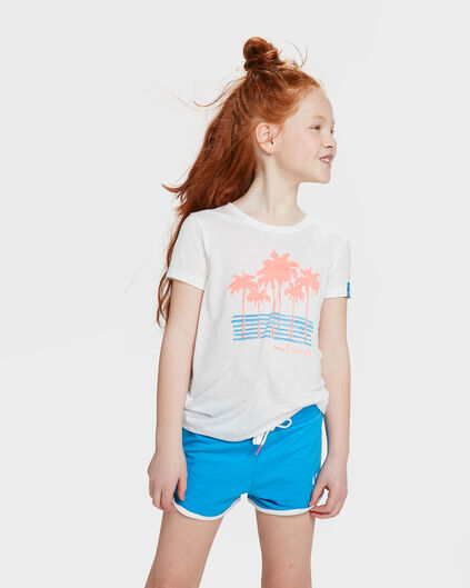T-SHIRT PALM TREES PRINT FILLE Blanc