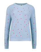 PULL TRIANGLE DETAIL KNIT FEMME_PULL TRIANGLE DETAIL KNIT FEMME, Bleu eclair