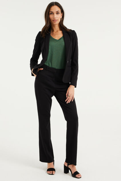 Pantalon regular fit stretch femme Noir