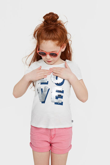 T-SHIRT LOVE FLIP SEQUINS FILLE Blanc