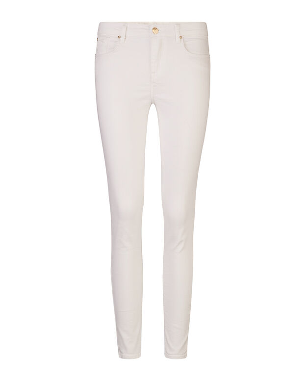 JEANS MID RISE SKINNY HIGH STRETCH CROPPED FEMME Blanc