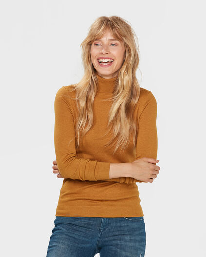 PULL ROLL NECK FEMME Jaune moutarde