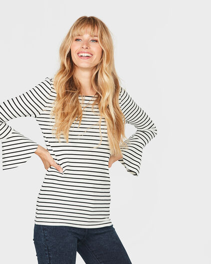 BLOUSE STRIPED TRUMPET SLEEVE FEMME Blanc