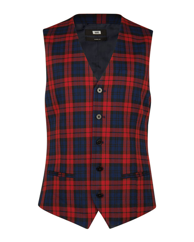 GILET SKINNY FIT A CARREAUX DALI HOMME Rouge