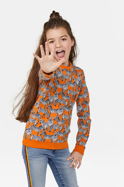 Sweat-shirt à imprimé zèbre fille Orange