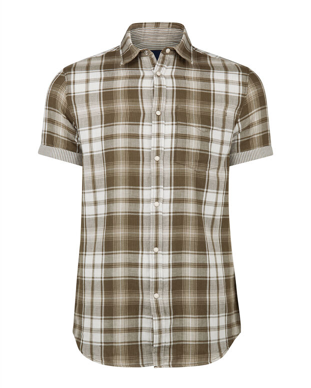 CHEMISE RELAXED FIT CHECKED HOMME Vert armee