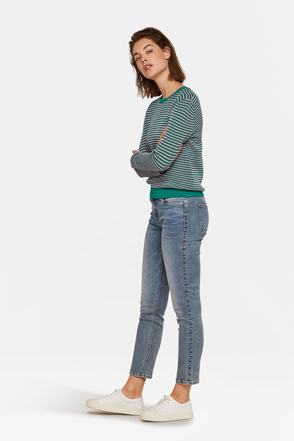 JEANS HIGH STRETCH MID RISE SLIM FEMME Bleu gris