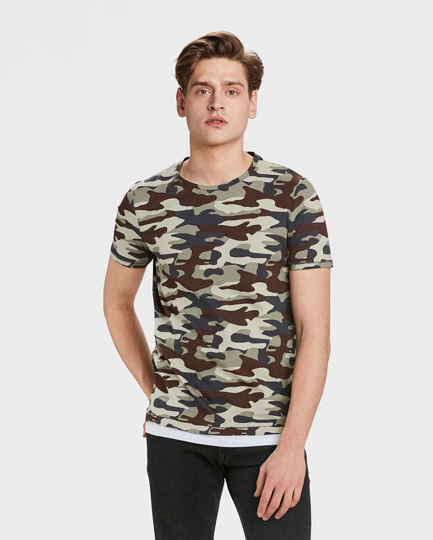 T-SHIRT R-NECK ARMY PRINT HOMME Vert armee