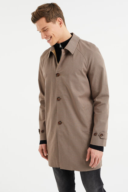 Manteau car coat à carreaux homme Brun