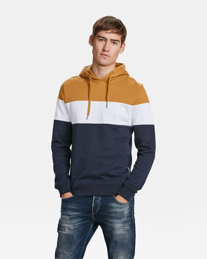 HOODIE COLOUR BLOCK HOMME Jaune moutarde