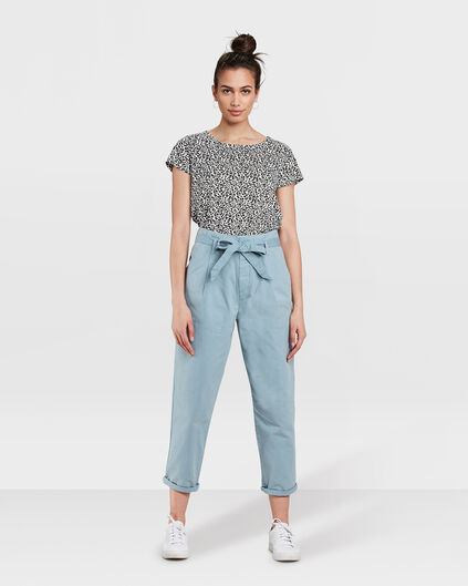 PANTALON TAPERED HIGH WAIST PAPERBAG CHINO CROPPED FEMME Bleu gris