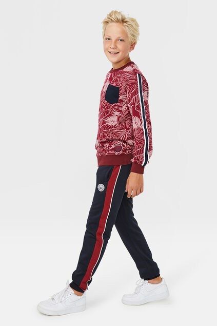 Pantalon sweat sporty stripe garçon Bleu marine