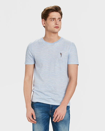 T-SHIRT STRIPED HOMME Bleu eclair