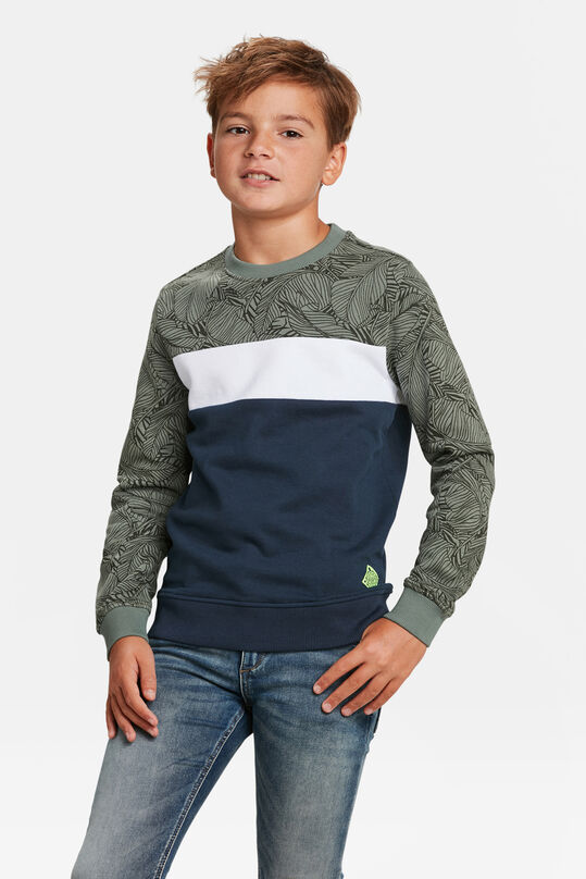SWEAT-SHIRT COLOR BLOCK GARÇON Vert armee