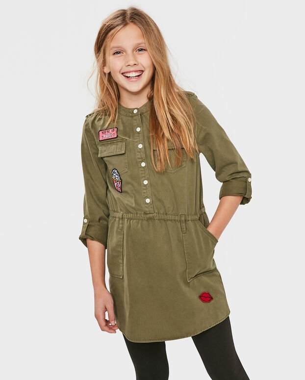 ROBE PATCHES FILLE Vert
