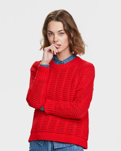 PULL PATTERN KNIT FEMME Rouge
