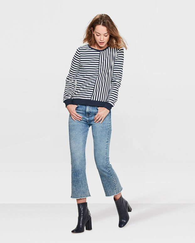 SWEAT-SHIRT STRIPED FEMME Bleu marine