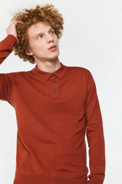Pull polo de fin jersey homme Brun rouille