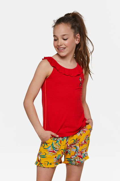 Top ruffle fille Rouge
