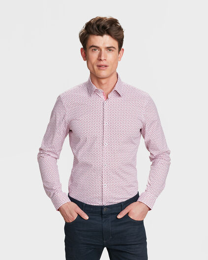 CHEMISE SLIM FIT STRETCH GRAPHIC PRINT HOMME Rose