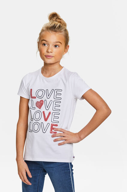 T-shirt à motif love pailleté fille Blanc
