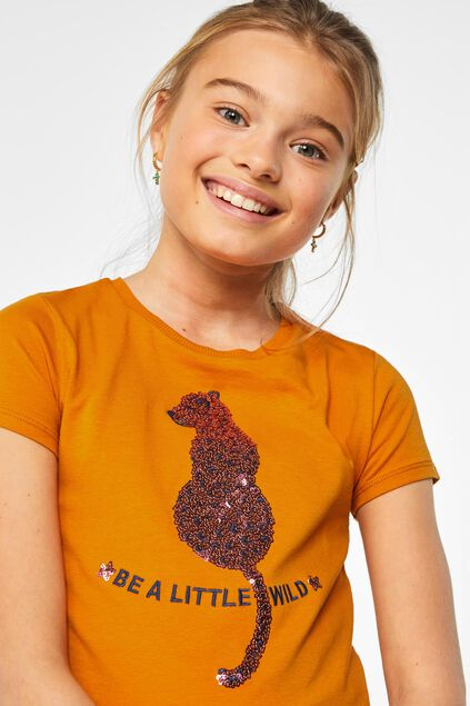 T-shirt à application pailletée fille Orange