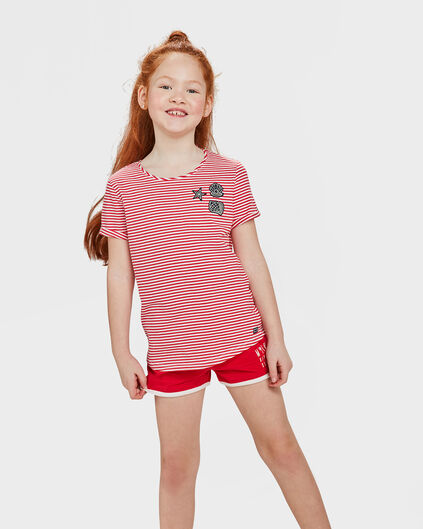 T-SHIRT STRIPE PRINT FILLE Rouge