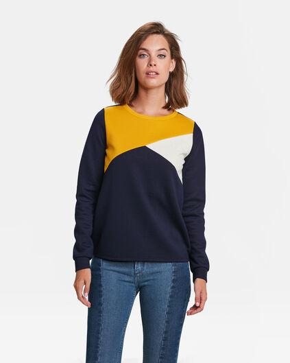 SWEAT-SHIRT COLOUR BLOCK FEMME Bleu foncé