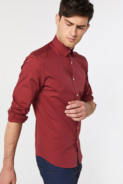 Chemise slim fit stretch homme Rouge safran