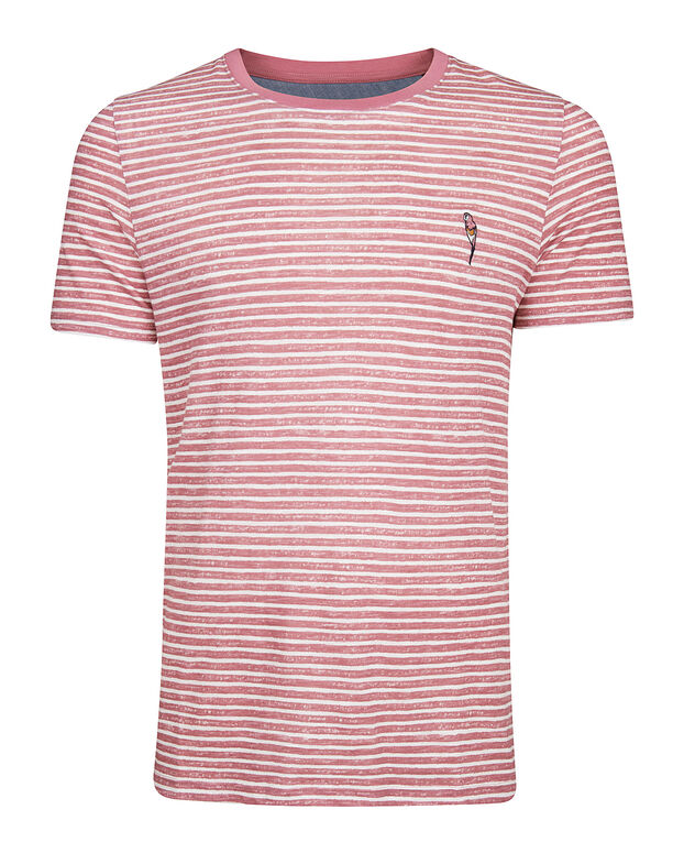 T-SHIRT STRIPED HOMME Rose clair