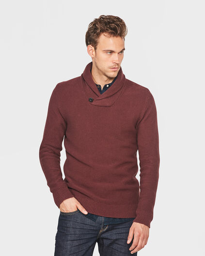PULL SCARF COLLAR HOMME Rouge foncé