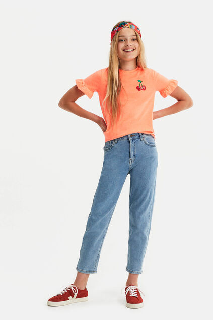 Jeans high rise girlfriend fille Bleu eclair