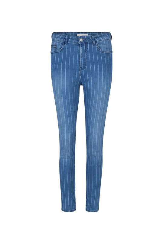 Jeans high rise skinny cropped femme Bleu