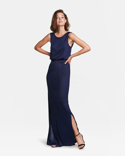 ROBE CUT OUT DETAIL MAXI FEMME Bleu marine