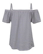 TOP STRIPE COLD SHOULDER FILLE_TOP STRIPE COLD SHOULDER FILLE, Bleu foncé