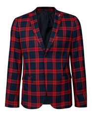 BLAZER SKINNY FIT A CARREAUX DALI HOMME_BLAZER SKINNY FIT A CARREAUX DALI HOMME, Rouge