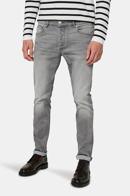 Jeans slim tapered comfort stretch homme Gris clair