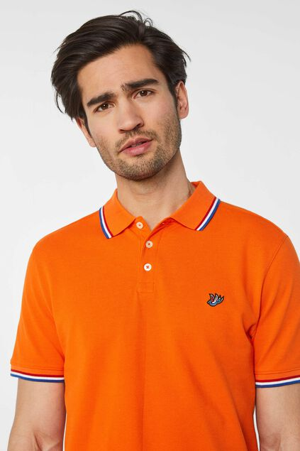 Polo en piqué de coton bio homme Orange