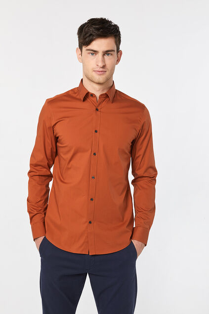 Chemise slim fit stretch homme Brun rouille